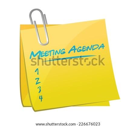 meeting agenda memo illustration design over a white background - stock vector