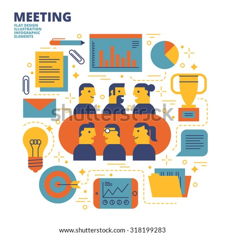 Meeting, Flat Design, Illustration - stock vector