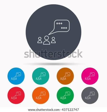 Meeting icon. Chat speech bubbles sign. Speak balloon symbol. Icons in colour circle buttons. Vector - stock vector