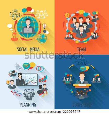 Meeting icon flat set with social media team planning conference isolated vector illustration - stock vector