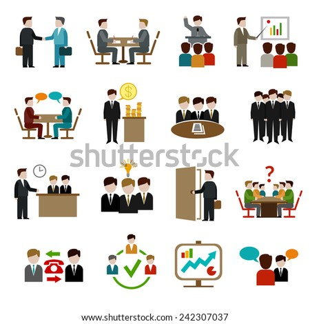 Meeting icons set with business teamwork corporate training and presentation symbols isolated vector illustration - stock vector