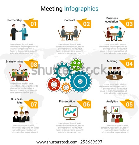 Meeting infographics set with partnership contract business negotiation brainstorming symbols vector illustration - stock vector