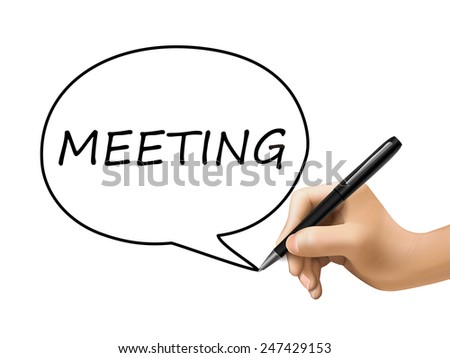 meeting word written by 3d hand over white - stock vector