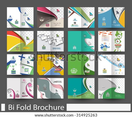 Mega Bundle of Bi-Fold Mock up & Brochure Design. - stock vector