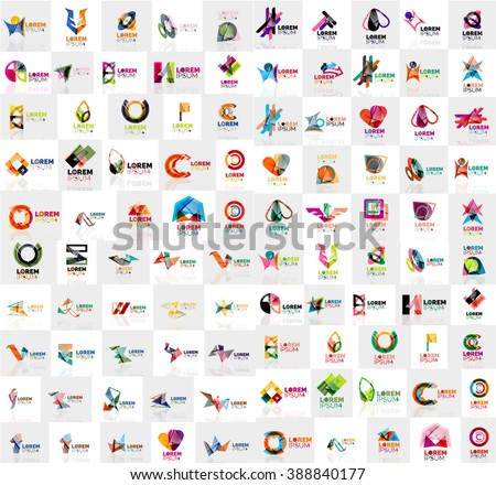 Mega collection of geometrical abstract logo templates, origami paper style business icons with sample text - stock vector