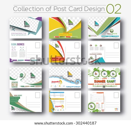 Mega Collection of Postcard Design for Opening invitation Bundel.2 - stock vector