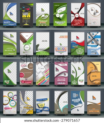 Mega Collection of Roll Up Banner Design - 2 - stock vector