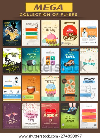 Mega collection of stylish Flyers for different business purpose. - stock vector
