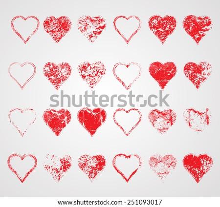 Mega Collection of Vector Grunge Hearts . Distressed Heart Set . Grunge Splash Heart . Decorative Elements for Valentine's Day Postcard.  - stock vector