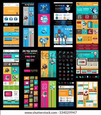 Mega Collection of Website templates, web headers, Footers, menu, drop menu, website icons, design elements for web pages, panels, buttons and so on. - stock vector
