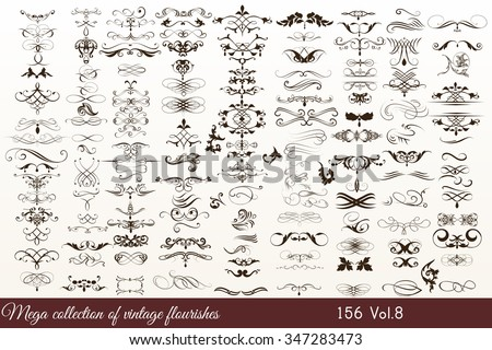 Mega collection or set of filigree drawn flourishes in vintage or retro style - stock vector