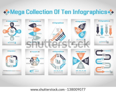 MEGA COLLECTIONS OF TEN MODERN ORIGAMI BUSINESS STEB STYLE OPTIONS BANNER - stock vector