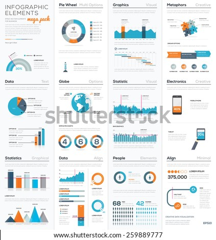 Mega colletion of infographic business vector elements EPS10. Modern graphics for corporate brochures, website, magazines and many other publications. - stock vector