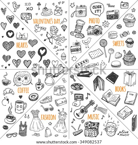 Mega doodle design elements vector set. Hand drawn illustrations: photo, sweets, books, hearts, Valentine`s day, music, fashion clothes, coffee. - stock vector