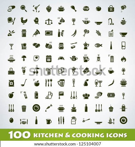 Mega food and cooking icon set - stock vector