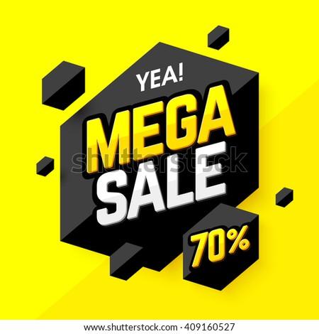 Mega Sale banner, poster background. Special offer, discounts, 70% off. Vector illustration. - stock vector