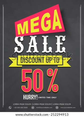 Mega sale flyer, banner or template design with best discount offer for your business. - stock vector