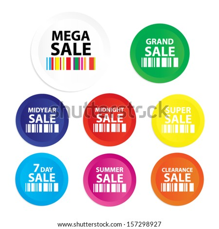 Mega Sale : Grand sale, Midyear sale, Midnight sale, Super sale, sevenday sale, Summer sale, Clearlance sale sticker, tag, label, symbol on white background - Vector. - stock vector