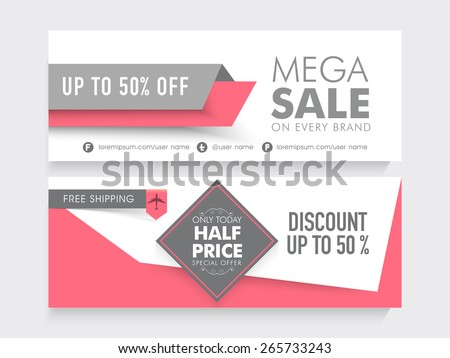 Mega Sale with 50% discount and free shipping offer, two sided website header or banner set. - stock vector