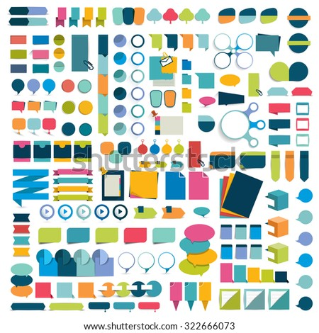 Mega set infographics flat design elements, schemes, charts, buttons, speech bubbles, stickers. Vector illustration. - stock vector