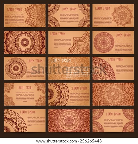 Mega set of business cards samples. Patterns of ancient America. Grunge effect. - stock vector