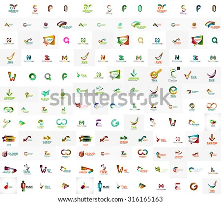 Mega set of geomeric company logos. Corporate business branding design elements - stock vector