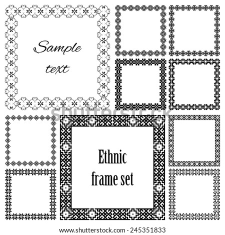 Mega set of geometric frames in black color isolated on white background. Collection of ten square with ethnic borders. For your design, text or photo. Vector illustration.  - stock vector