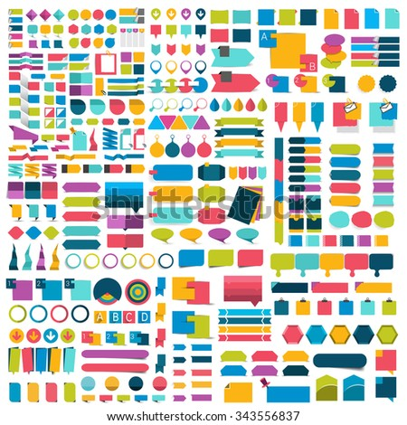 Mega set of infographics flat design elements, schemes, charts, buttons, speech bubbles, stickers. Vector illustration. - stock vector
