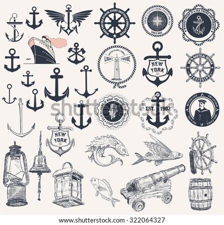 Mega Set of nautical elements - stock vector