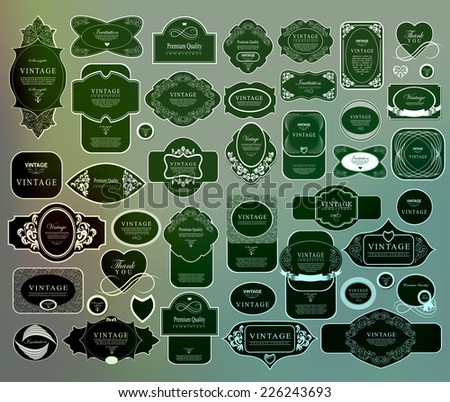 Mega set of thin lineretro vintage ribbons and label - stock vector