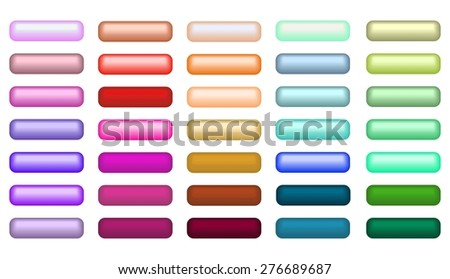 Mega set of web empty buttons in different colors - stock vector