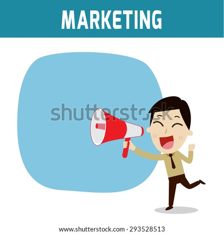 megaphone. asian, european people shouting holding bullhorn .