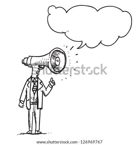 Megaphone businessman speaking - stock vector