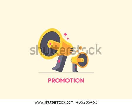 Megaphone icon. Marketing promotion concept. Vector flat illustration - stock vector