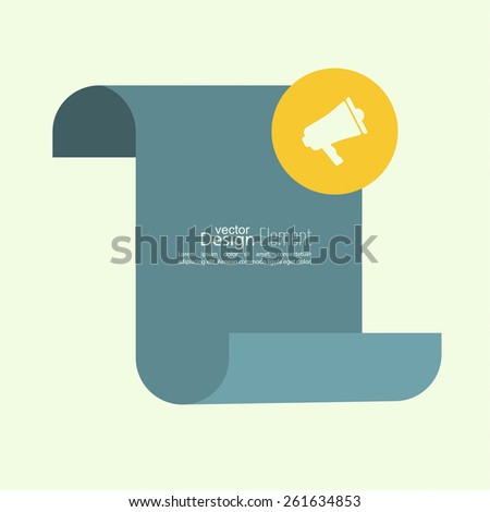 Megaphone, loudspeaker with Blank scroll for text and messages. for social media marketing concept. Notification through the speaker, advertisement bullhorn. - stock vector