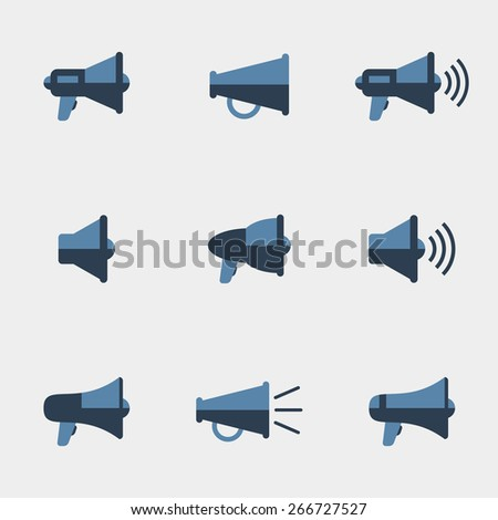 Megaphone vector icons set. Communication and sound, symbol loudspeaker. Vector illustration - stock vector