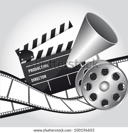 megaphone with clapper board and movie film. vector illustration - stock vector