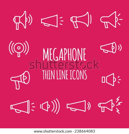 Megaphones thin line icons.  - stock vector