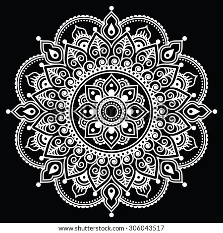 Mehndi, Indian Henna tattoo white pattern on black background - stock vector
