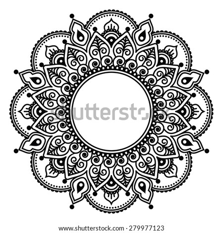 Mehndi lace, Indian Henna tattoo round design or pattern - stock vector