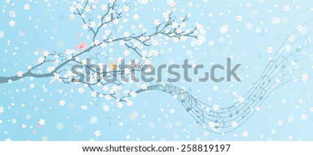 Melody of Spring. Tree in bloom with notes on its branches. Spring background with place for your text on the right. All elements are on separate layers.  - stock vector