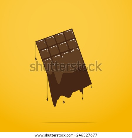 melted chocolate bar - stock vector