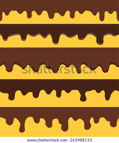 Melted chocolate seamless borders set isolated, vector illustration - stock vector