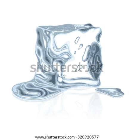Melted Ice Cube Isolated no gradients - stock vector