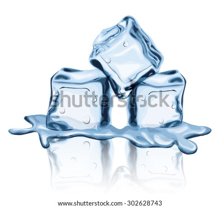 Melted Ice Cubes - stock vector