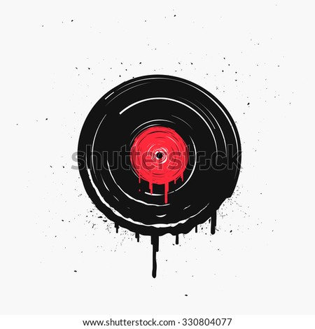 Melted vinyl record with drops. Template for cafe, cover, poster or your art works. - stock vector