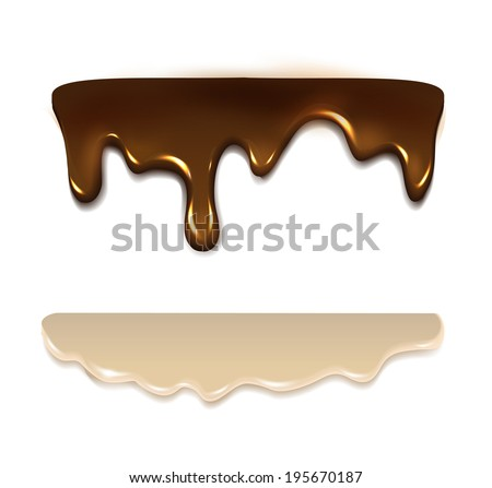 Melting chocolate and milk cream. Vector  - stock vector