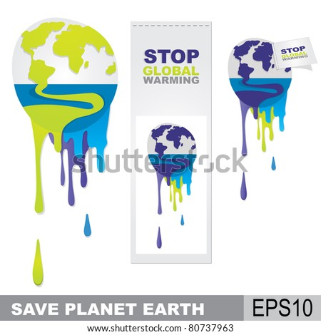 melting earth, global warming concept - stock vector
