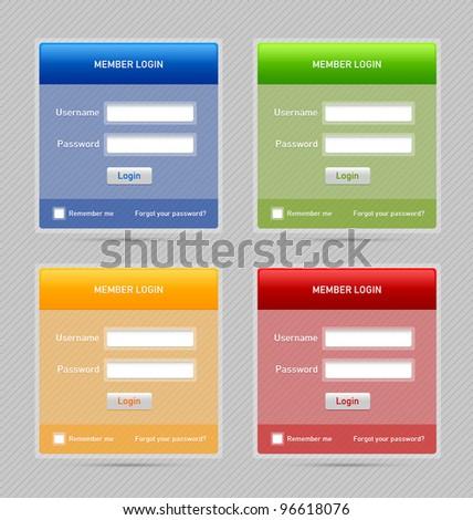 Member log in website elements - stock vector