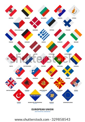 Member state of the European Union and Candidate flags Rhombus form isolated on white background - stock vector